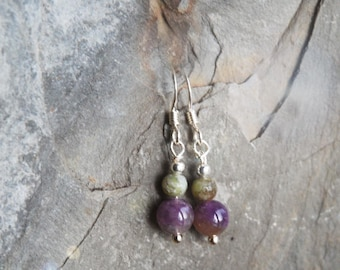 Irish Connemara Marble and Amethyst bead earrings, Irish gift, Sterling Silver ear wires - Gift boxed - gift from Ireland