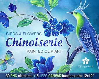 CHINESE Birds Flowers clip art designs. Blue Green, 30 PNG elements, 5 canvas backgrounds, 12x12 digital scrapbook paper. Read about usage