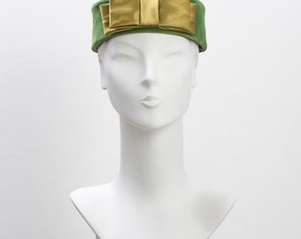 1950's Green Velvet and Satin Hat with Bow, Vintage Hat, 1950's