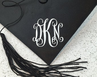Monogram Decal for Graduation Cap - 3 inches by 3 inches Script Vinyl Monogram Decal - Grad Cap Decal - Grad Cap Monogram - Monogram Decal