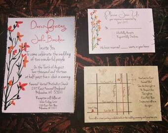 Floral Wedding Invitation, Orange Wedding invitation, Fall Wedding invitation set, autumn wedding invitations