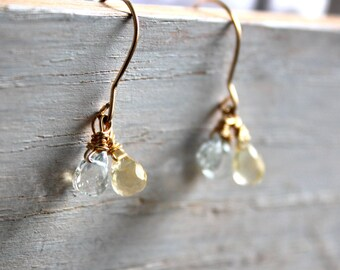 "Gemstone Cluster Tiny  Gold Earrings - Citrine and Aquamarine - 14k Gold fill ""Sunrise"" Hook Earrings -  - Wire Wrapped Jewelry"
