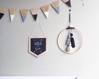 Monochrome tassel wall hanging, modern tassel mobile, handmade baby mobile, boho wall hanging, large dreamcatcher, nursery decor