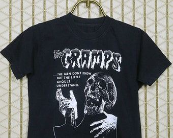The Cramps T-shirt, faded black tee shirt, vintage rare, Lux Interior, Poison Ivy Rorschach, horror punk, goth gothic