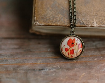 Red Poppy necklace, Gift for mom, Red poppies necklace, Red Poppy jewelry, Red necklace, Red flower necklace, Floral necklace, Art Necklace