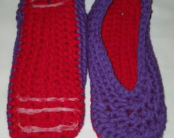 Handmade Crocheted Women's Slippers W/Non-Slip Tread Size 7-8