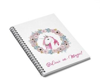 Unicorn Believe In Dreams Spiral Notebook  Ruled Line