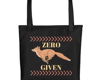 """Zero Fox Given 15""""x15"""" Market Book Tote Bag Fox on Black"""