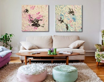 Abstract Diptych,Interior Wall Art,Childrens Room Wall Art,Heavy Texture,Abstract Shadows,Square oil painting,Bedrooom Wall Art,Rose,Blue