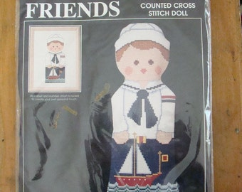 Alice Peterson KIT Best Friends Sailor Boy Doll Counted Cross Stitch