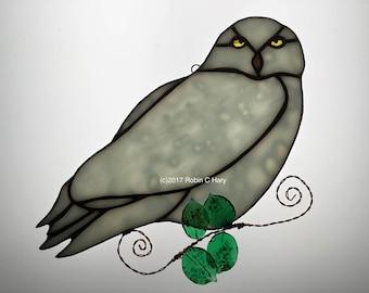 Snowy Owl Suncatcher in Stained Glass