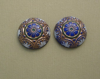 Vintage  Glass Cabochons Etched Mosaic Blue Gold Green White   18mm.