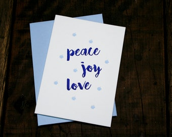 Letterpress Printed Peace • Joy • Love Holiday Cards