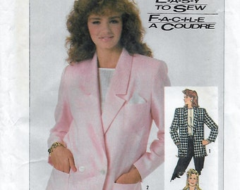 Simplicity 7852 Misses' 80s Loose-Fitting Unlined Jacket Sewing Pattern Bust 34 36 38