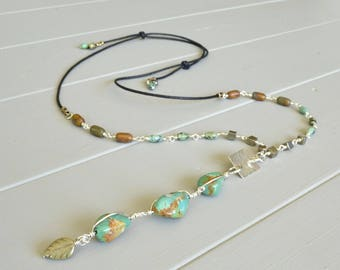 Turquoise Necklace, Natural Stone Necklace,  Boho Necklace, Adjustable Necklace, Turquoise Nugget Jewelry