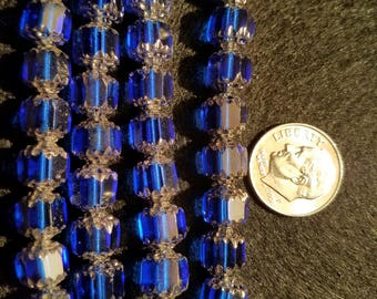 50 8mm Cathedral Blue/Silver Glass Beads