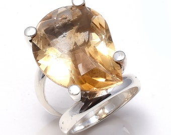 Citrine Ring, 925 Sterling Silver Natural Gemstone Ring,Fancy Citrine Handmade Ring, Solid Silver Ring  Jewelry Free Jewelry Polishing Cloth