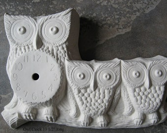 "Cute, Owl with chicks, Owl Clock, Bird Clock,Bird Decor, Home decoration, 10"" by 14"" long, Wall clock, Ceramic Bisque,Ready to paint,u-paint"