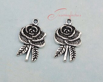 15PCS--24x18mm ,Rose Flower Charms, Antique Silver Tone Flower Charm pendants , DIY supplies,Jewelry Making. JAS5555D