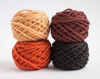 mini yarn skein set in autumn colours - worsted weight, pure wool, 48 grams, 88 yards