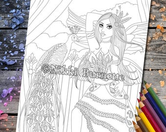 Coloring Page - Digital Stamp - Printable - Fantasy Art - Stamp - Adult Coloring Page - STESHA - by Nikki Burnette