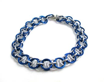Royal Blue Helm Chainmaille Bracelet - Royal Blue Chain Maille Bracelet - Chain Bracelet