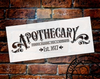 """Apothecary - Word Art Stencil -14"""" X 6"""" - STCL756 - by StudioR12"""