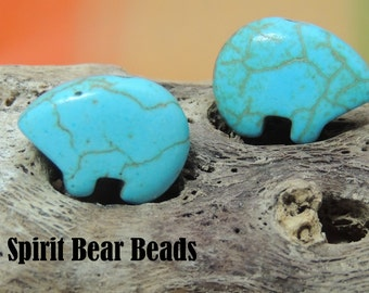 The Best Turquoise Zuni Earring Bears by the Pair make your own dreamcatcher or earrings Teen Size 12 x 18 mm