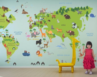 World map wall mural etsy world map for kids 58 removable wallpaper peel and stick wallpaper self adhesive wallpaper wall mural wallpaper temporary wallpaper gumiabroncs Images