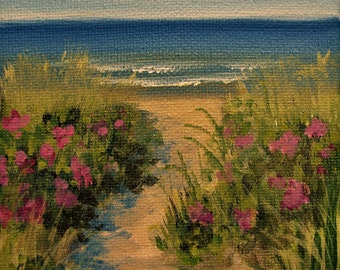 """Ocean Sea Beach Waves Roses Original signed Acrylic Painting square 4""""x 4""""x 1.5"""""""