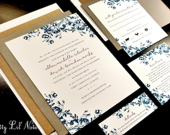 Floral Flower Spring Summer Custom Unique Wedding Invitation Flourish Damask Garden Outdoor Roses Hydrangea Garden Daisy Sunflower Peony Mod