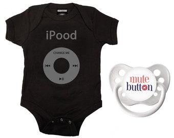 iPood Baby Romper & Pacifier Gift Set Black