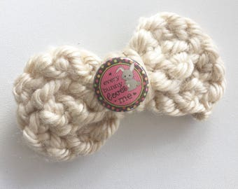 Crochet Bunny Love Bow- Ready to Ship