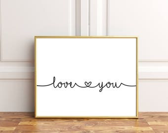 Bedroom wall decor, I love you wall decor, I love you wall art, Love you printables,  Couple bedroom wall art,  I love you print, Love print