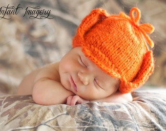 Fuddy Duddy Hunter Hat Knitting Pattern - All Sizes Newborn through Adult male Included - PDF Sale - Instant Digital Download