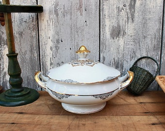 Vintage tureen, German china, bowl with lid, Bavaria Germany porcelain, Jaeger Co., fine dinner table, mid century bowl, wedding gift
