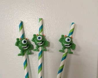 Set of Ten Monsters Inc. Inspired Party Straws
