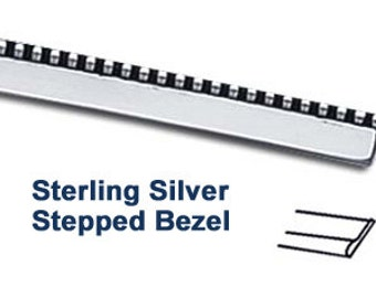 Sterling Silver Bezel Wire - Stepped Bezel - 24 Gauge - Choose Your Length
