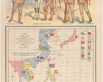 Map of the China Seas, Antique Map by W. B. Duncan, 1898