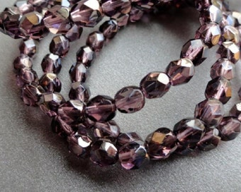 6mm Fire Polished Beads - Purple Celsian Luster - Faceted Czech Glass Rounds