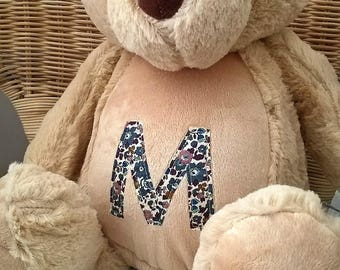 Personalised Teddy Bear / pyjama case with Liberty fabrics