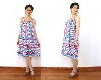 Vintage Sundress / 1980s Sun Dress / 1970s 80s Colorful Rainbow Striped Tent Dress