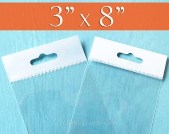100 3 x 8 Inch HANG TOP Clear Self Adhesive Cello Bags for Display or Pegboard