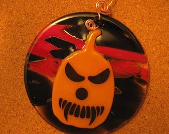 Halloween Sun Catcher - Fused Glass Pumpkin - Halloween Decor - Pumpkin Decorations - Fused Glass Sun Catchers - Fused Glass Halloween