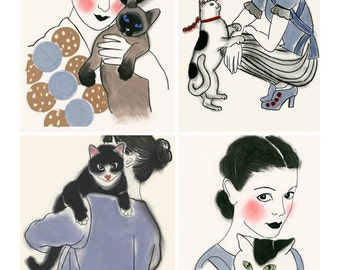 Cat art SALE gift set - Four cat loving pretty girls for the price of 3!