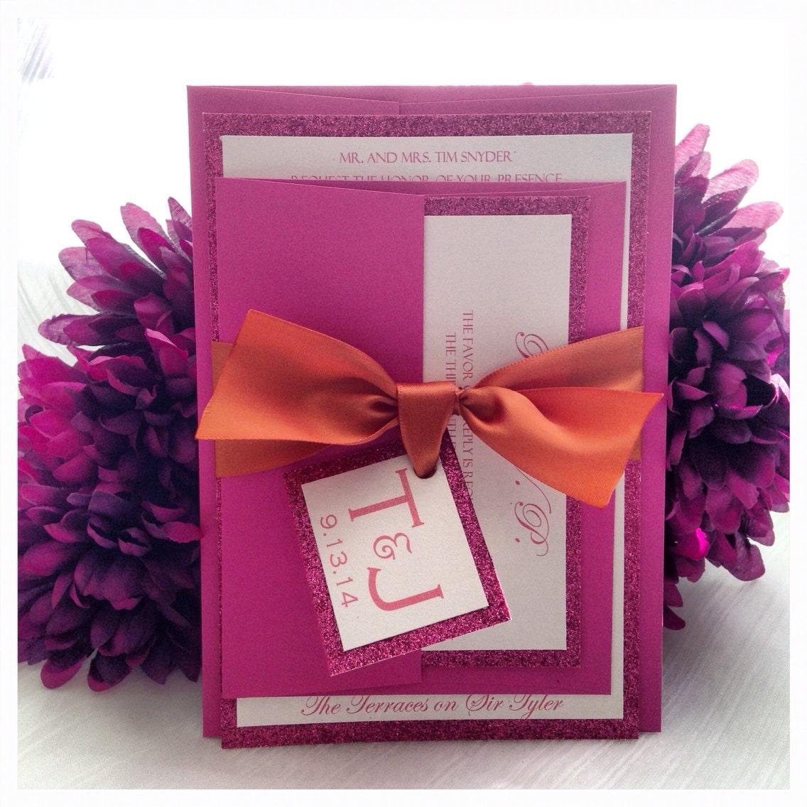 Orange and Fuchsia Glitter Wedding Invitation with monogram