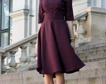 Women Dress, Minimalist Dress, High Waist Dress, Winter Dress, Oversized Dress, Women Office Dress, Winter Clothing, Romantic Dress