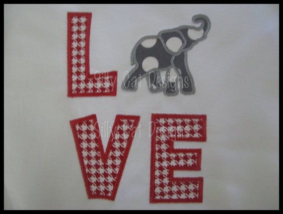 Elephant Love Applique Machine Embroidery Design