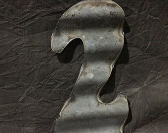 "10"" 2  - Recycled Antique Roofing Tin Number by JunkFX"