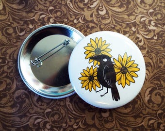 Crow and Flowers Button Pin